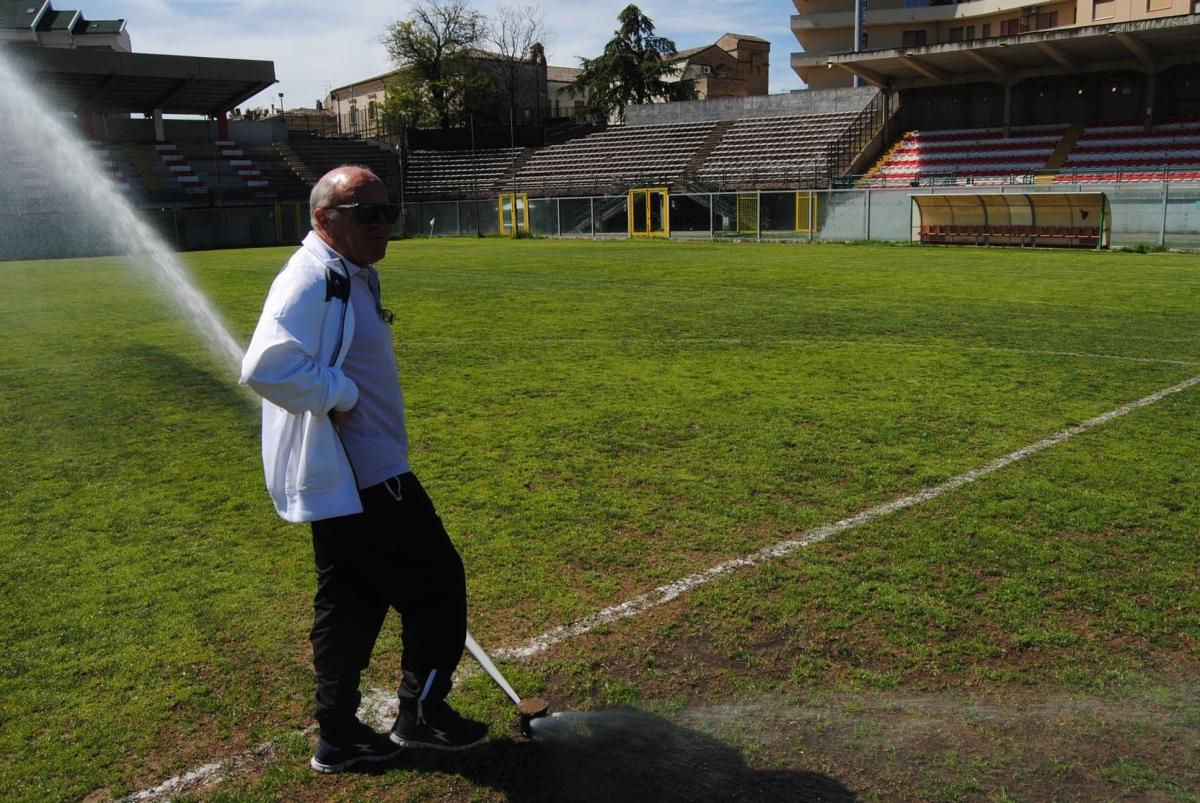 Enrico Montanaro allo stadio Aragona