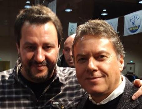 Manuele Marcovecchio con il leader della Lega Matteo Salvini